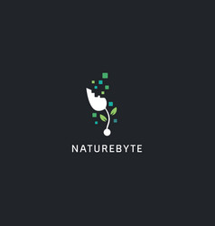 Digital technology logo style nature byte plant vector