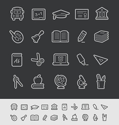 Education Icons Black Background vector image