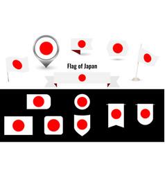 flag japan big set icons and symbols vector image