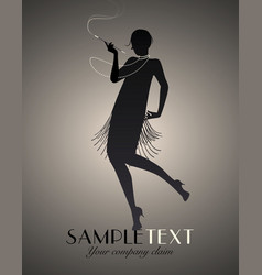 Flapper girl silhouette dancing charleston-02 vector