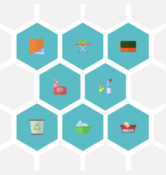 Flat icons wisp laundry clothes washing and vector