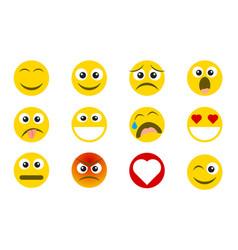 flat style emoji emoticon icon set vector image