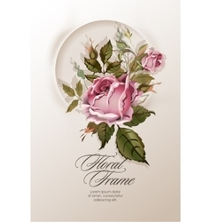 Floral wreath with vintage flowers vector