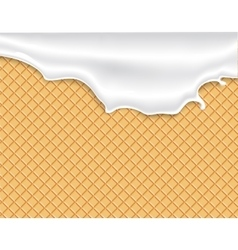 Flowing white glaze on wafer texture vector