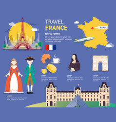 french map for traviling in france design vector image