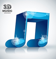 Funky blue double musical note 3d modern style vector