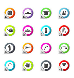 Gardening tools collection icons set vector