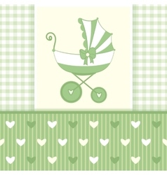 Green Greeting Card with Stroller6-01 vector