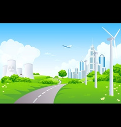 Green Landscape with Power Plants vector image