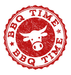 Grunge bbq time stamp seal vector