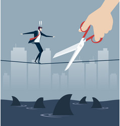 hand cutting rope in business risk concept vector image