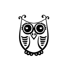 Hand drawn owl doodle black and white entangle vector