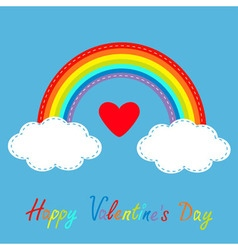 Happy Valentines Day Love card Big red heart vector image
