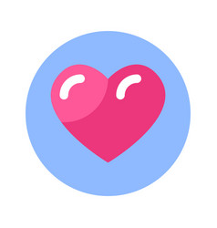 heart icon pink shape on blue round background vector image