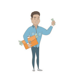 Hispanic businessman with briefcase full of money vector