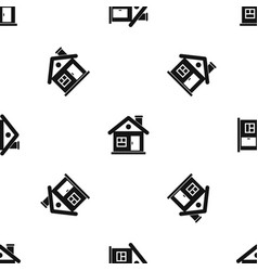 house pattern seamless black vector image