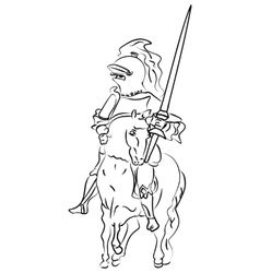 Ink sketch of a knight on the horse vector