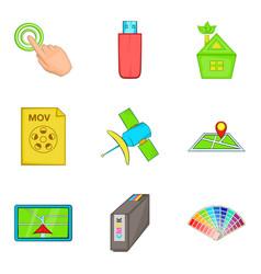 Interactive icons set cartoon style vector