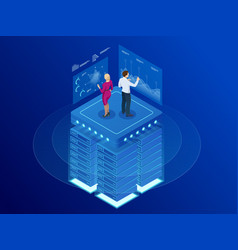 Isometric web banner data analytics platform vector