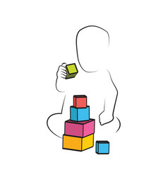 kid playing toys blocks child development and vector image