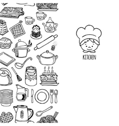 Kitchen utensils and appliance vertical banner vector image