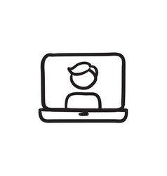 Laptop with man on screen sketch icon vector