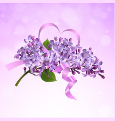 Lilac branch with a pink satin ribbon vector