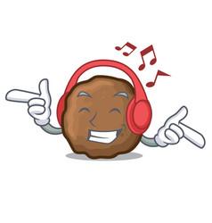 Listening music meatball mascot cartoon style vector