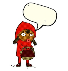 little red riding hood cartoon with speech bubble vector image