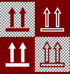 logistic sign of arrows bordo and white vector image