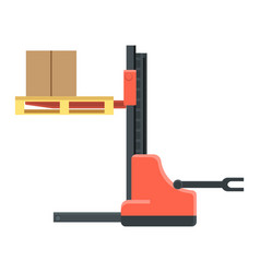 Machine for cargo boxes movement and trucks load vector