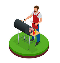 Male preparing barbecue outdoors grill summer vector