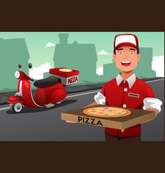 man delivering pizza vector image