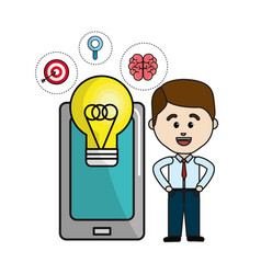 Man with smartphone idea bulb and health mental vector