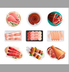 Meat products set vector