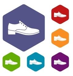 Men shoe icons set vector