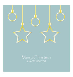 merry christmas and happy new year with stars and vector image