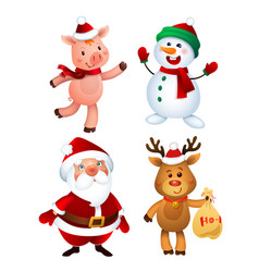 merry christmas santa claus pig snowman vector image