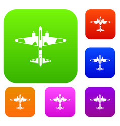 military fighter aircraft set collection vector image
