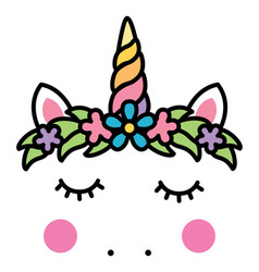 Minimalistic unicorn face with floral wreath vector