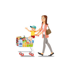 Mother making purchases with son cartoon vector