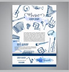 Music instruments festival brochure jazz vector