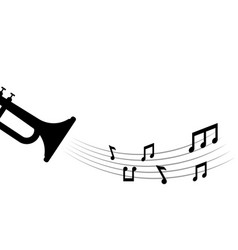 music notes and trumpet graphic design template vector image