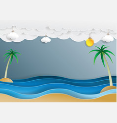 ocean wave and cloud paper cut style vector image