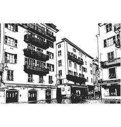 old buildings with balconies vintage hand drawn vector image