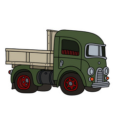 Old green lorry truck vector