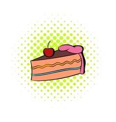 Piece of cake icon comics style vector image