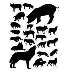 pig and wolves silhouette vector image