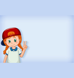 Plain background with happy girl wearing red cap vector
