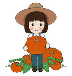 Planter and pumpkin vector